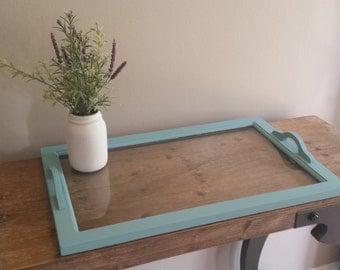 Vintage Vanity Tray - Refinished, glass vanity tray, blue vanity tray, dresser tray