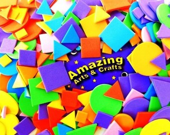 Craft Foam Self Adhesive 200 pieces Assorted Colours and Shapes