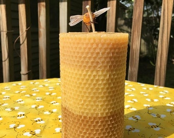 Beeswax pillar candle with rolled-look