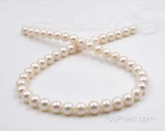 9-10mm off round pearls, white genuine loose pearl beads, thick nacre, fresh water pearl supply, large hole available, FR660-WS