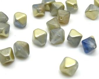 20 x 8mm blue matte gold bicone glass beads| czech glass beads| vintage style beads | czech beads| glass beads