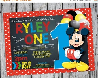 Mickey Mouse Invitation, Mickey Mouse Clubhouse Invite, Mickey Mouse 1st Birthday, Mickey Invitation Chalkboard, Mickey Mouse Birthday Party