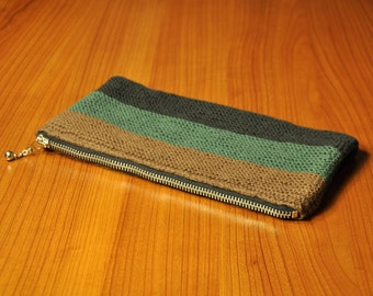 Hand Knitted Brown, Green, & Black Clutch with Zipper