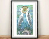 Grey herons spirit animal bird art print/ bird watcher art print