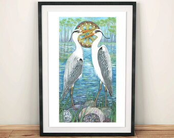Grey herons spirit animal bird art print/ bird watcher art print/ Nursery art print