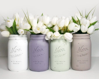 4- Hand Painted Quart Wide Mouth Mason Jar Flower Vases- Vanessa Collection-Country Decor-Cottage Chic-Shabby Chic-French Chic