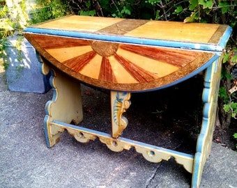 Painted Country Demi-Lune Table 1950s