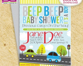 Cars Baby Shower Invitation, Invitacion de baby shower de carritos, Cars, Cars Baby Shower, Cars Custom Printable Baby Shower Invitation, Gr