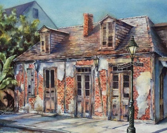 """Lafitte's Blacksmith Shop, historic building New Orleans French Quarter 12x16"""" fine art giclee print of original watercolor painting"""