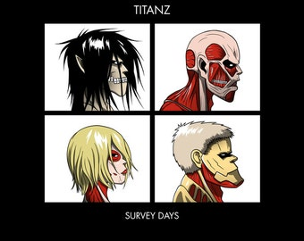 Titanz Survey Days - Anime SNK Gorillaz Parody LADIES FIT T-Shirt - Anime Manga Clothing