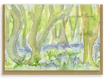Blue Bells in the woods, watercolour, note card, greeting card, thank you note