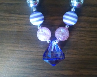 Purple Diamond Pendant Toddler Bubblegum Necklace