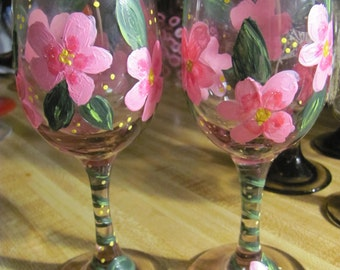 Two Hand Painted Wine Glasses Pink Blossoms