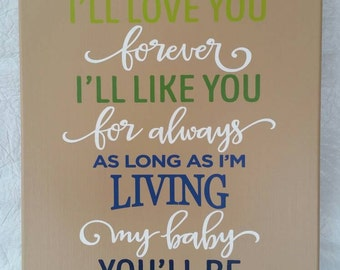 I'll love you forever canvas 12x16-as long as I'm living-baby-nursery-baby shower-birth-baby room-mom-girl-boy-hand made canvas