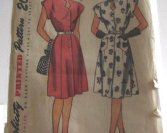 Vintage Simplicity Sewing Pattern 1684 Womens' One-Piece Dress Size 40 Bust 40 Waist 34 Hip 43 Complete Instruction Sheet, Copyright 1946