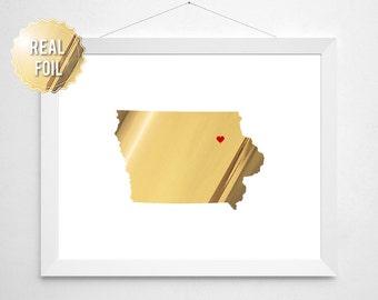 Iowa Gold Foil Print - Iowa State Map Silhouette - Iowa Home Decor - University of Iowa Gift - Iowa Hawkeye Gift - Iowa State Cyclones Gift