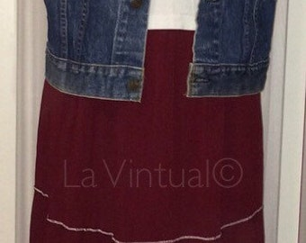 Wine vintage summer maxi skirt with white trim