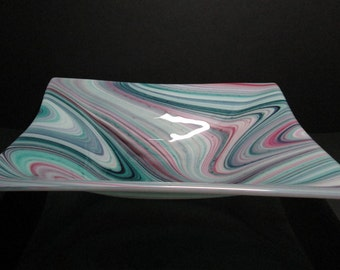 Teal, Grape and Pink Glass Bowl