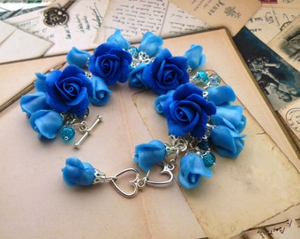 Flower bracelet Roses jewellery Bracelet with flower Blue bracelet Women bracelet Bridesmaid bracelet Unusual jewelry Roses bracelet