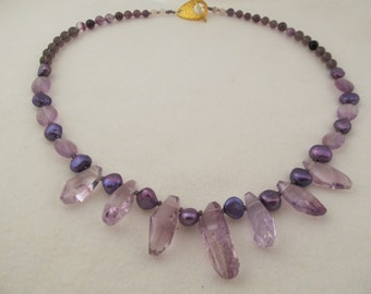 Amethyst and Purple Fresh Water Pearl Necklace and Earrings | #79