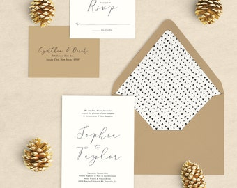 Simple Rustic Wedding Invitations, Calligraphy Wedding Invitation, Elegant Wedding Invitation, Simple Wedding Invitation, Minimalist, SAMPLE