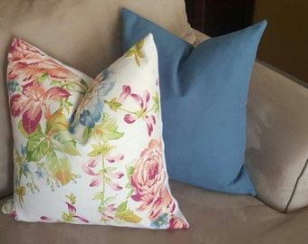 NEW! Floral Throw Pillow-Blue-Pink-Coral Decorative Pillow