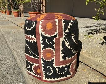 Suzani Pouf, Moroccan Pouf, Handmade Pouf, Decorative Accent Floor Cushion, Pouf Cushion, Pouf Ottoman, Accent Pouf, Tribal Pouf, Floor Pouf