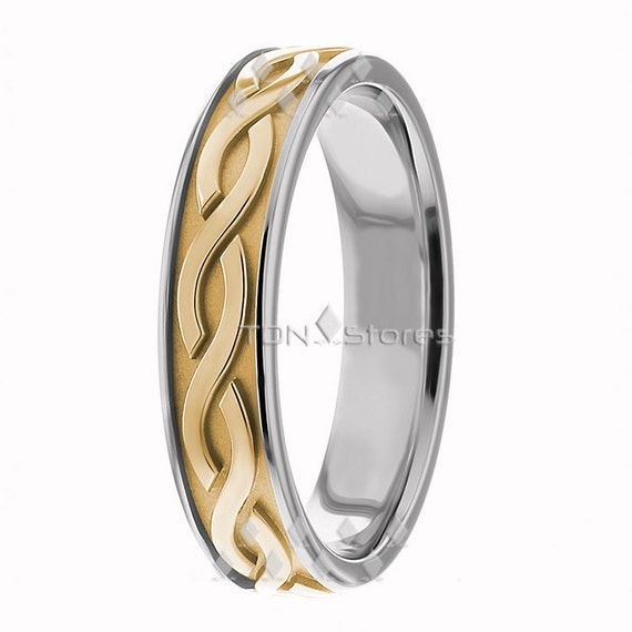 Women s Celtic Wave Wedding Rings 5 00mm Wide fort by TDNStores