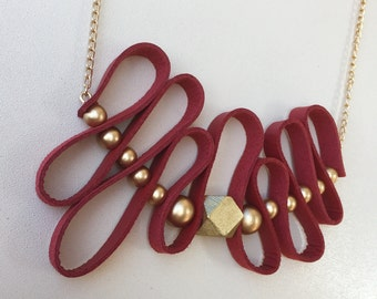 SALE/ Red Leather/ Gold Wood Bead/ Statement Necklace