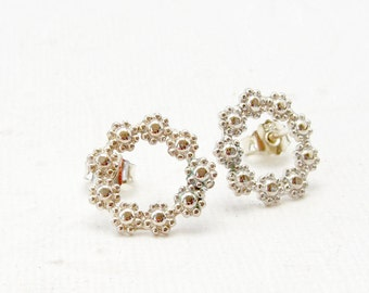 Round Flower Earrings 925 Silver earrings, flowers