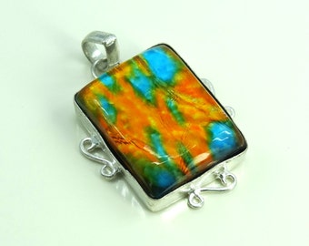 Dichroic Glass Pure Sterling Silver Pendant
