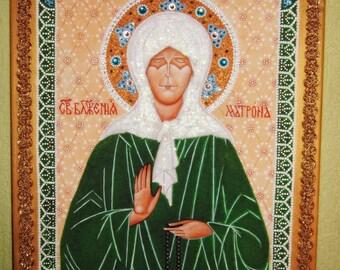 Saint Matrona of Moscow Orthodox . Handpainted Russian orthodox icon on canvas . Icon beads . Mixed media art . Acrylic painting wall decor
