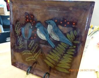 Hand Painted Little bird plate