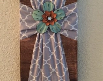 Gray Wall Cross with Turquoise Flower