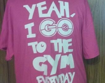 Pokemon Tshirt Yeah i go to the gym FREE SHIPPING