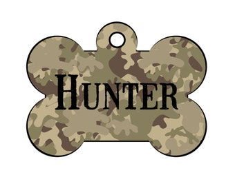 Camouflage Dog Tag for Dogs, Camo Pet Tag, Camo Dog Tag, Camouflage Pet ID Tag, Dog Bone Tag for Dogs, Hunting Dog Tag, Military Tag for Dog