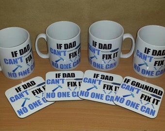 If Dad can't fix it no one can ceramic mug and coaster set personalised fathers day gift