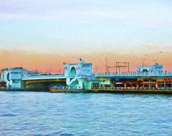 Istanbul, Galata Bridge, Waterfront, Sunset, Constantinople, Istanbul Painting, Popular Landmark, Available on Canvas