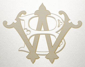 Custom Wedding Monogram - BW WB - Wedding Monogram - Vintage