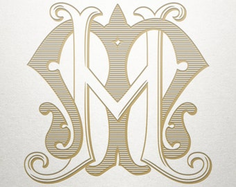 Vintage Digital Monogram - HM MH - Digital Monogram - Custom
