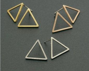 triangle stud earrings, gold triangle earrings, silver triangle earrings, triangle studs, open earring, minimalist earrings, geometric