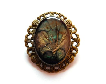 """Unique Brooch """"Golden Forest"""", Mixed Media, Green Bronze Gold, Metal Cuttings, Crystal, Jewelry Pin, Jewellery Pin, Brass"""