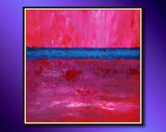 Minimalist Painting Original Modern Acrylic Painting Wall Art Ready to hang, minimalist art Red color painting, Impressionistic Painting