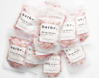deep detox. bath soak sample // Himalayan Sea Salt // Dead Sea Salt // 100% Organic Essential Oils // Organic Pink Rose Petals // 1.75 oz.