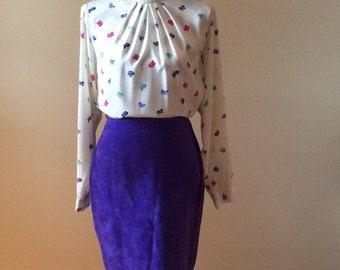 Vintage leather skirt/ 1980s skirt