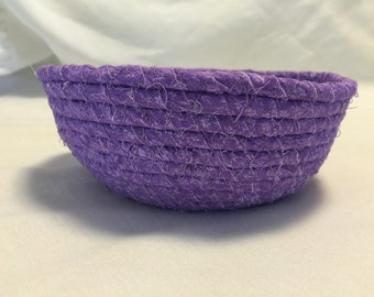 Small Purple Fabric Coiled Basket