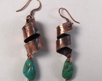 Copper & Turquoise Earring