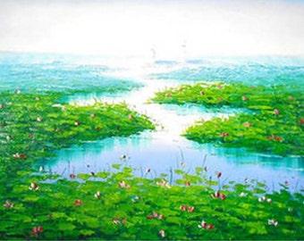 Landscape Oil Painting - Floral River