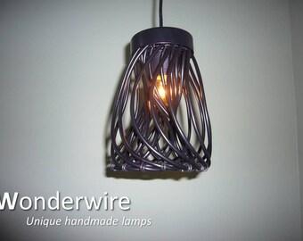 Medium design pendant lamp- Wiretwister, black - Wonderwire, Unique handmade lamps