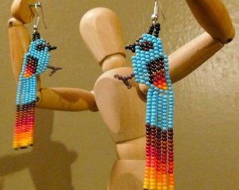 Beautiful and Unique Huichol Mexican Bird Earrings